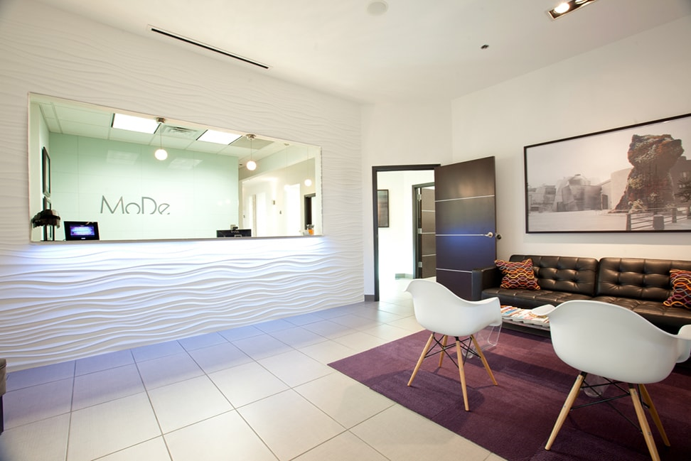 A panoramic view of Modern Dental's front office space